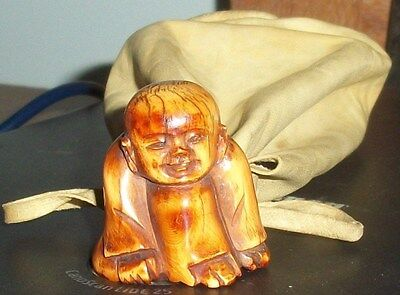 Netsuke Hand Carved With Pouch at least 46 Years Old From My Collection Old OLD