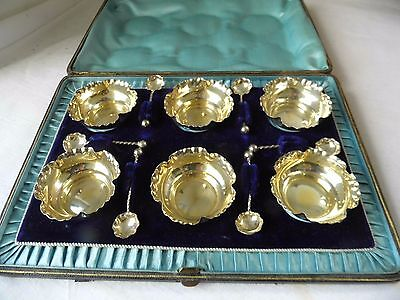 Superb Victorian Sterling Silver Fluted Salt Pots & Spoons 1893, Boxed