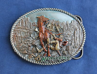 Remington Vintage Rattled Run Away Horse Cowboy Pewter Belt Buckle Hunting Rifle