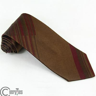 Cravatta GIANMARCO VENTURI Marrone Bordeaux Righe 100% Seta Made in Italy Tie