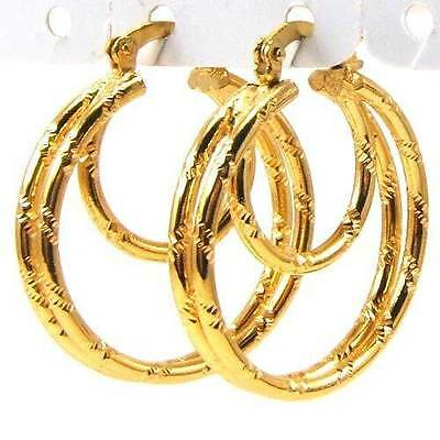 """Awesome New 18K Yellow Gold Plated Round Triple Nested 1"""" Hoop in Hoop Earrings"""