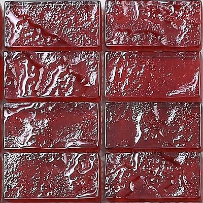 SAMPLE Textured Lava Red Brick Bathroom Feature Mosaic Tiles Sheet MT0123