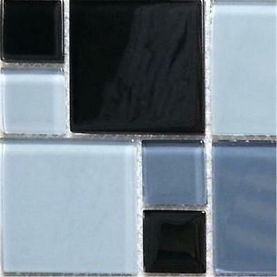 Mosaic Wall Tiles Glass Black, Grey And White Random Modular Mix SAMPLE (MT0012)