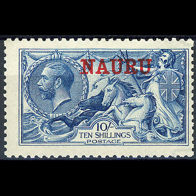 NAURU 1916-23 10s Deep Bright Blue. SG 23d. Lightly Hinged Mint. (AR359)