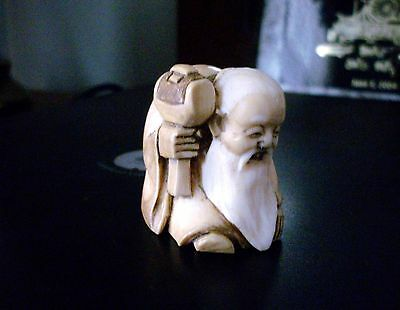 Old Man With Hammer Netsuke & Signed at least 46 Years Old From My Collection