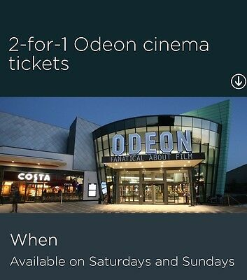 Odeon cinema 2 For 1 Online Code Saturday 01/07/17 And Sunday 02/07/17 Only