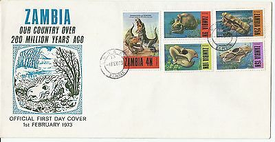 Zambia 1973 Prehistoric Animals set on FDC