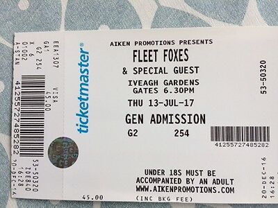 ******Two Fleet Foxes seated  concert tickets***** 13th July Ivy Gardens