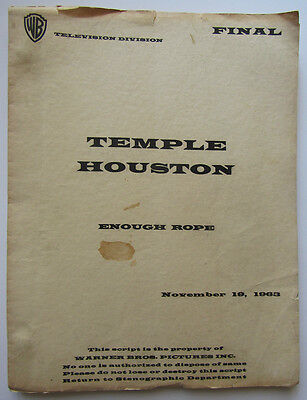 "Vintage ""Temple Houston"" script Final Draft 11/19/63 ""Enough Rope."""