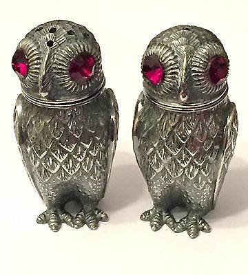 Solid Silver Owl Salt & Pepper Shakers Novelty Cruet Set