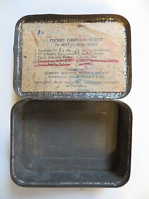 Vintage Forest Service Pocket First Aid Outfit in Metal Box (SDO) (TIN ONLY)