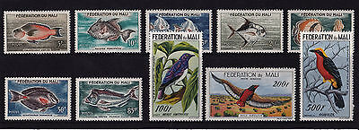 Mali - 1960 Fish & Birds set to 500f - SG 3-12 - SEE NOTES