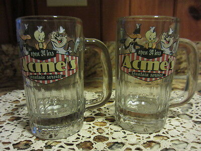 Set of 2 Acme's 1993 Fountain Service Glass Mug Warner Bros. Looney Tunes