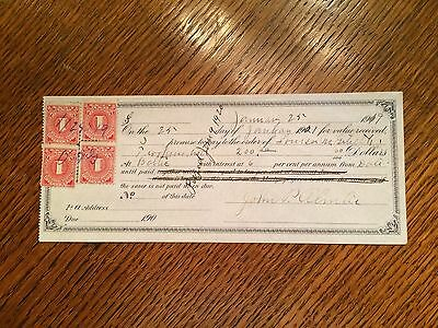 4 Used 1 Cent Documentary Stamps US Postage United States Red
