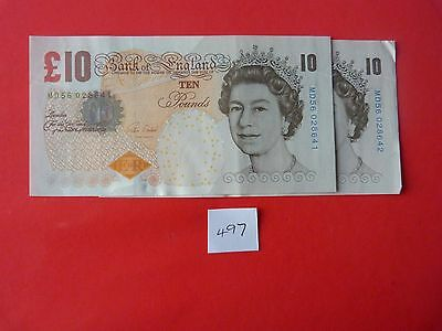 2 circulated CONSECUTIVE  numbered £10 NOTES in VERY GOOD CONDITION