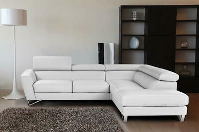 Fashionable White Grain Italian Leather Sectional Sofa Right Hand J M Sparta