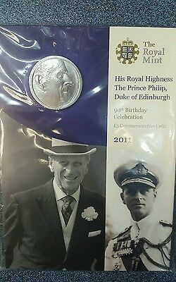 2011 His royal highness prince Philip duke of edinburgh 90th birthday £5 BU coin