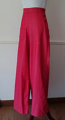 40s Womens Pants Red Denim Style Side Button