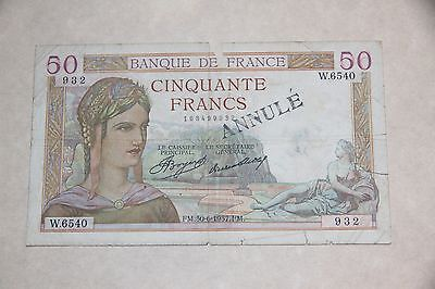 France 50 Francs Banknote - Issued 30/6/1937 - P. 85a - Fine ANNULE