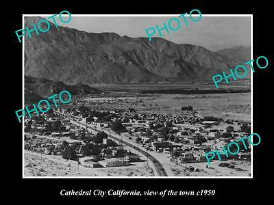 OLD LARGE HISTORIC PHOTO OF CATHEDRAL CITY CALIFORNIA, VIEW OF TOWNSHIP c1950
