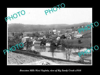 OLD LARGE HISTORIC PHOTO OF BRUCETON MILLS WEST VIRGINIA, BIG SANDY CREEK c1910