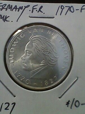 1970-F Germany 5 Mark KM#127 - Silver Coin UNC
