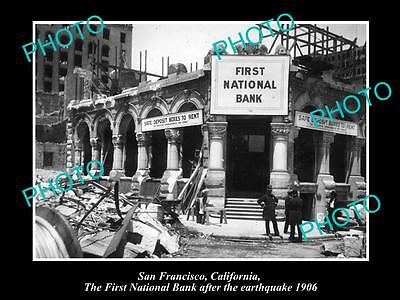 Old Historic Photo Of San Francisco, First National Bank After Earthquake 1906