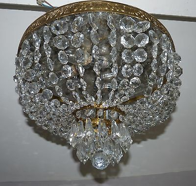 Large Vintage French 5-Light Plafonnier Crystal Bag Chandelier for Low Ceilings