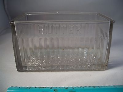 Vintage Original Clear One Pound Butter Dish  Criss Cross,Ribbed