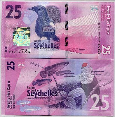 Seychelles 25 Rupees Nd 2016 P New Design Unc