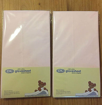 New Dk glovesheet 2 pack fitted sheet for chicco next2me & lullago pink 83x50 cm