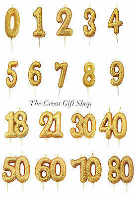 Gold Glittery Birthday Anniversary Cake Age Number Digit Candle Topper