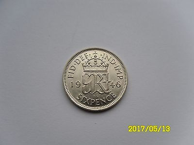 George Vi Silver Sixpence 1946