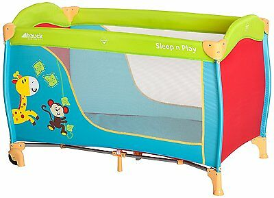NEW Hauck Sleep-n-Play Go Jungle Fun Portable Baby Travel Cot - Blue & Red