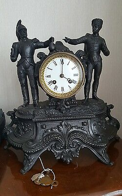 Antique French mantel clock with French Cuirassier & Hussar in GWO c/w key