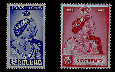 SEYCHELLES #151 #152 Mint Hinged 1948 SILVER WEDDING SCV $16.25