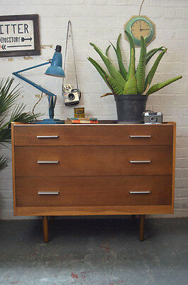 Vintage Mid Century Stag Chest of 3 Drawers Sideboard Cabinet