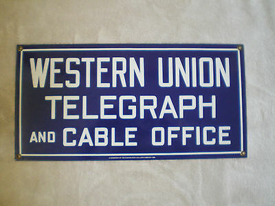Western Union Telegraph Reproduction Metal Sign ~ Painted Post Calliope Co.1986
