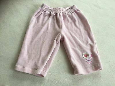 Baby Girls Clothes 3-6 Months - Pretty Velour   Trousers -
