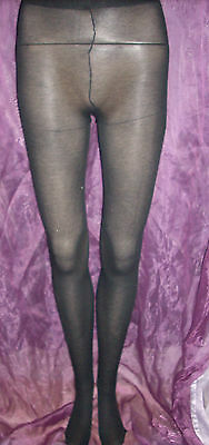 Lot Of 12 Pairs Of Semi Opaque Black Fine Ribbed Tights - Gorgeous!!
