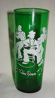 "1950's Anchor Hocking Forest Green 6.5"" Square Dance Tumbler  HOE DOWN"