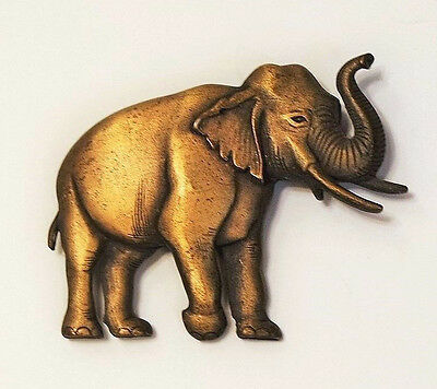 Antiqued Bronze Tone Realistic Rendition Elephant Brooch Pin Matte Finish