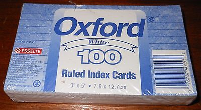 "Pack Of 100 Oxford White 3"" x 5"" Ruled Index Cards-New"