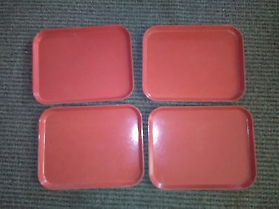 """Vtg Used Red Camtray School Commercial Cafeteria Tray 18""""x14 Made In Usa (4)"""