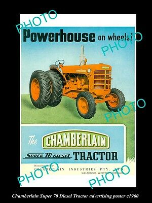 OLD LARGE HISTORIC PHOTO OF CHAMBERLAIN TRACTOR, SUPER 70 DIESEL POSTER c1960