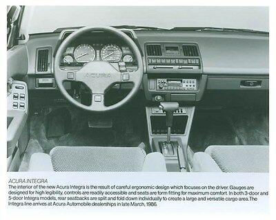 1986 Acura Integra Interior Automobile Factory Photo ch5721
