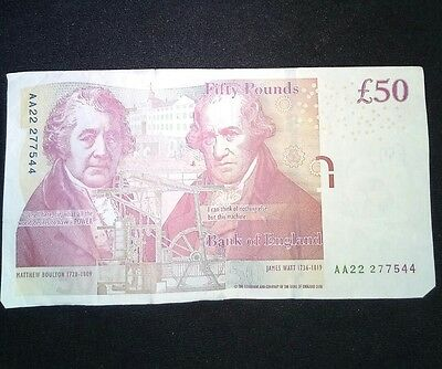 "Bank Of England £50 Fifty Pound Note ""AA"" Chris Salmon"
