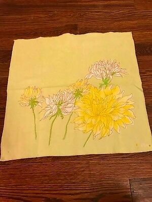 set of 4 vintage vera napkins green yellow flowers floral mod