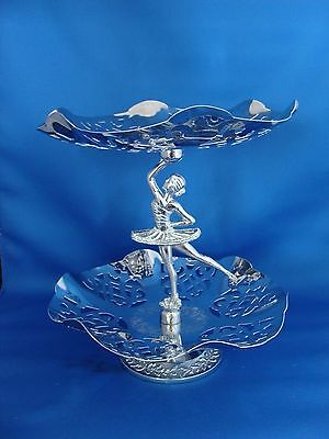 Art Deco Chrome Plated 2 Tier Ballerina Serving Tray England 1930's