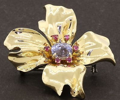 GIA certified vintage 14K gold 3.20CTW no-heat sapphire & ruby flower brooch